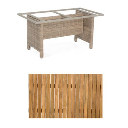 """Sonnenpartner Gartentisch """"Base-Polyrattan"""", Gestell Alu mit Geflecht rustic stream, Tischplatte Old Teak, Größe: 160x90 cm"""