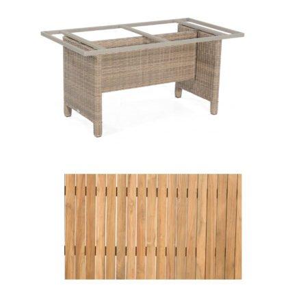 """Sonnenpartner Gartentisch """"Base-Polyrattan"""", Gestell Alu mit Geflecht rustic stream, Tischplatte Teak Natur, Größe: 160x90 cm"""