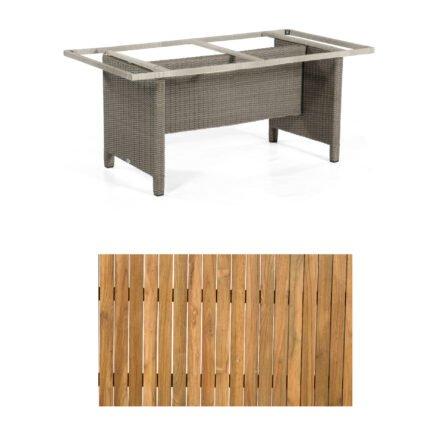 """Sonnenpartner Gartentisch """"Base-Polyrattan"""", Gestell Alu mit Geflecht stone grey, Tischplatte Old Teak, Größe: 160x90 cm"""