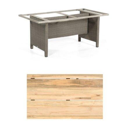"""Sonnenpartner Gartentisch """"Base-Polyrattan"""", Gestell Alu mit Geflecht stone grey, Tischplatte Old Teak Natur, Größe: 160x90 cm"""
