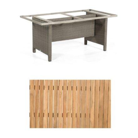 """Sonnenpartner Gartentisch """"Base-Polyrattan"""", Gestell Alu mit Geflecht stone grey, Tischplatte Teak Natur, Größe: 160x90 cm"""