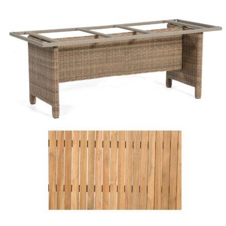 """Sonnenpartner Gartentisch """"Base-Polyrattan"""", Gestell Alu mit Geflecht rustic stream, Tischplatte Teak Natur, Größe: 200x100 cm"""
