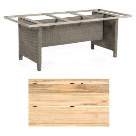 """Sonnenpartner Gartentisch """"Base-Polyrattan"""", Gestell Alu mit Geflecht stone grey, Tischplatte Old Teak Natur, Größe: 200x100 cm"""