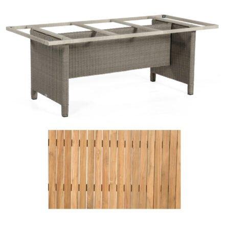 """Sonnenpartner Gartentisch """"Base-Polyrattan"""", Gestell Alu mit Geflecht stone grey, Tischplatte Natur Teak, Größe: 200x100 cm"""