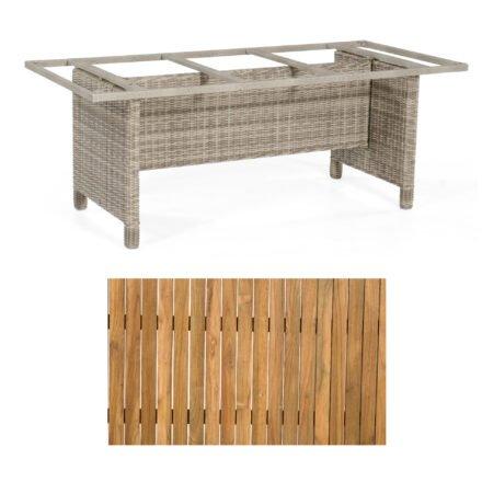 """Sonnenpartner Gartentisch """"Base-Polyrattan"""", Gestell Alu mit Geflecht white coral, Tischplatte Old Teak, Größe: 200x100 cm"""