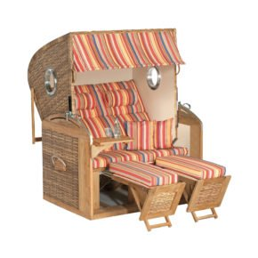 "SunnySmart Strandkorb ""305 Z Comfort XL"", Teakholz, Geflecht natura-antik, Bezug 1201, mit Bullaugen"