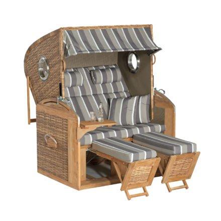 "SunnySmart Strandkorb ""305 Z Comfort XL"", Teakholz, Geflecht natura-antik, Bezug 1221, mit Bullaugen"