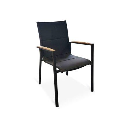 "Tierra Outdoor Stapelsessel ""Foxx"", Gestell Aluminium anthrazit, Sitzfläche Textilgewebe grau, Armlehnen-Auflage Teak"