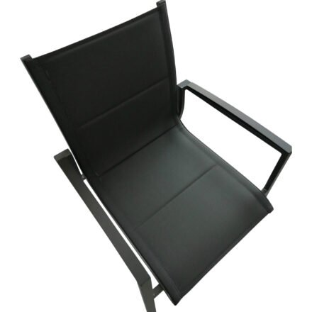 """Tierra Outdoor Stapelsessel """"Foxx"""", Gestell Aluminium anthrazit, Sitzfläche Textilgewebe grau gepolstert, Armlehnen-Auflage Aluminium"""