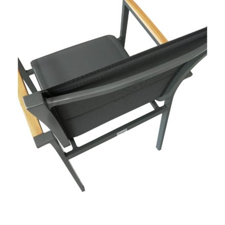 "Tierra Outdoor Stapelsessel ""Foxx"", Gestell Aluminium anthrazit, Sitzfläche Textilgewebe grau gepolstert, Armlehnen-Auflage Teakholz"