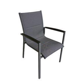 """Tierra Outdoor Stapelsessel """"Foxx"""", Gestell Aluminium anthrazit, Sitzfläche Textilgewebe grau gepolstert, Armlehnen Aluminium"""