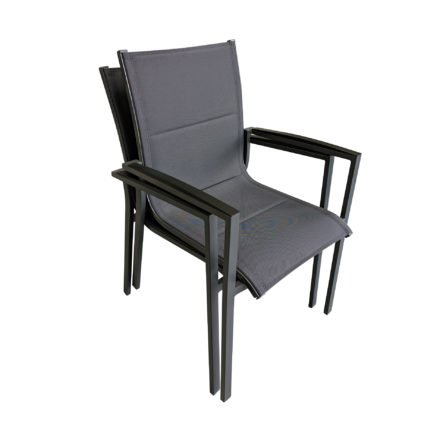 """Tierra Outdoor Stapelsessel """"Foxx"""", Gestell Aluminium anthrazit, Sitzfläche Textilgewebe grau gepolstert, Armlehnen Alu"""