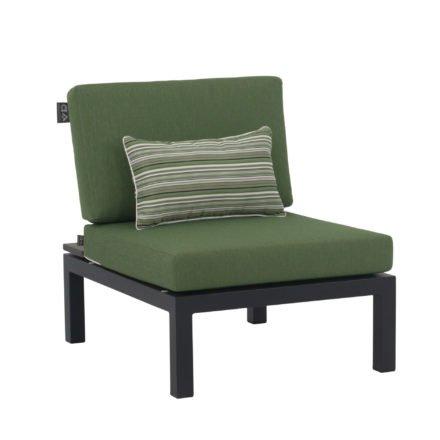 """Applebee Center Chair/Mittelteil """"Pebble Beach"""" inkl. Polstern """"Olive"""" und Dekokissen """"Forest Breeze"""", Gestell Aluminium schwarz, Ablage LWC (Leichtbeton)"""