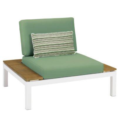 """Applebee Lounge Chair """"Pebble Beach"""" inkl. Polstern """"Forrest"""" und Dekokissen """"Forrest Breeze"""", Gestell Aluminium weiß, seitliche Ablagen Teakholz"""