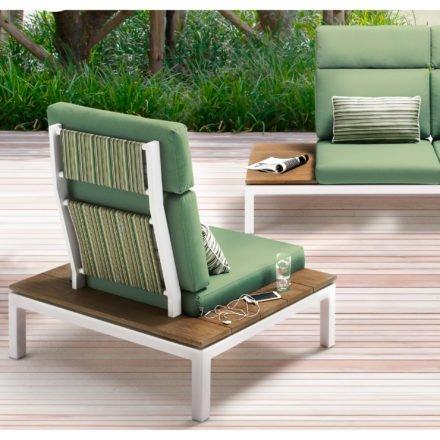 """Applebee Lounge Chair """"Pebble Beach"""" inkl. Polstern """"Forrest"""" und Dekokissen """"Forrest Breeze"""", hohe Rückenlehne optional, Gestell Aluminium weiß, seitliche Ablagen Teakholz"""