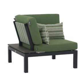 """Applebee Corner Chair/Eckteil """"Pebble Beach"""" inkl. Polstern """"Olive"""" und Dekokissen """"Forest Breeze"""", Gestell Aluminium schwarz, Ablage LWC (Leichtbeton)"""