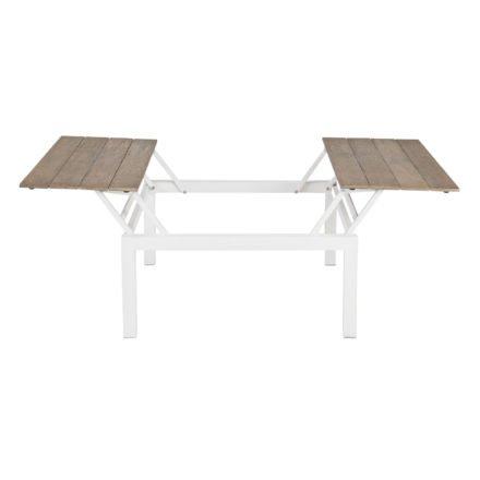 "Applebee Loungetisch ""Pebble Beach"", Aluminium weiß, Tischplatte aus Teakholz"