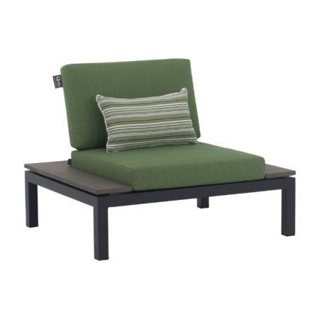 """Applebee Lounge Chair """"Pebble Beach"""" inkl. Polstern """"Olive"""" und Dekokissen """"Forest Breeze"""", Gestell Aluminium schwarz, Ablage LWC (Leichtbeton)"""