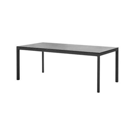 """Cane-line """"Drop"""" Gartentisch, Alu lavagrau, Tischplatte Keramik schwarz, 100 x 200 cm"""