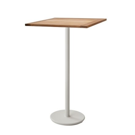 "Cane-line Bartisch ""Go"", Gestell Aluminium weiß, Tischplatte Teakholz, 72x72 cm"