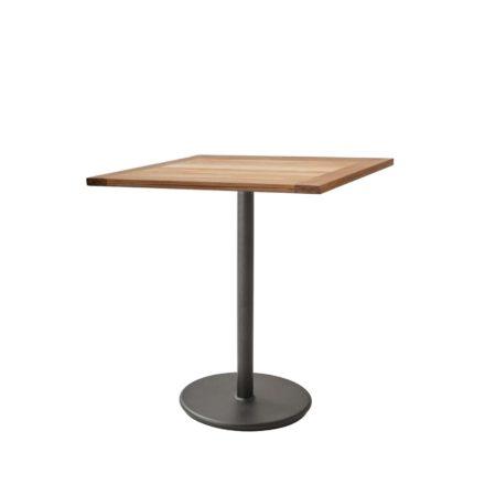 """Cane-line Bistrotisch """"Go"""", Gestell Aluminium lavagrau, Tischplatte Teakholz, 72x72 cm"""