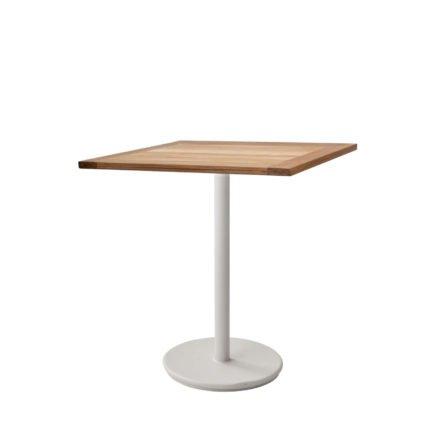 """Cane-line Bistrotisch """"Go"""", Gestell Aluminium weiß, Tischplatte Teakholz, 72x72 cm"""