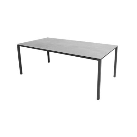 "Cane-line Gartentisch ""Pure"", Gestell Aluminium lavagrau, Platte Keramik grau, 200x100 cm"