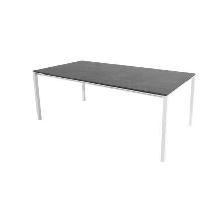 """Cane-line Gartentisch """"Pure"""", Gestell Aluminium weiß, Platte Keramik schwarz, 200x100 cm"""