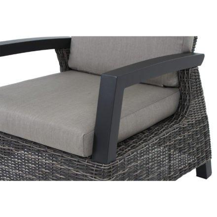 "Siena Garden Loungesessel ""Corido"", Gestell Aluminium anthrazit, Geflecht charcoal grey, Kissen taupe"