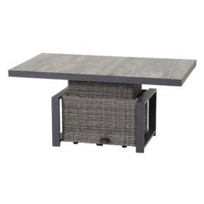 "Siena Garden Loungetisch/Lift-Tisch ""Corido"", Gestell Aluminium anthrazit, Geflecht charcoal grey, Tischplatte Keramik"