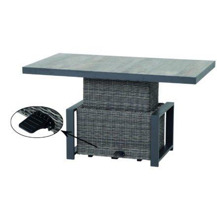 "Siena Garden Loungetisch ""Corido"", Gestell Aluminium anthrazit, Geflecht charcoal grey, Tischplatte Keramik"