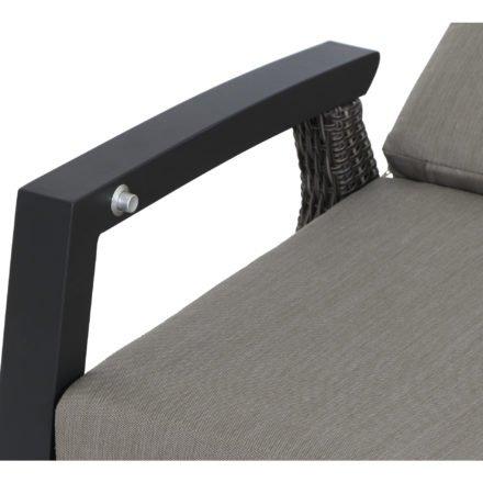 """Siena Garden """"Corido"""" Loungesofa, Gestell Aluminium, Geflecht charcoal grey, Kissen taupe meliert"""