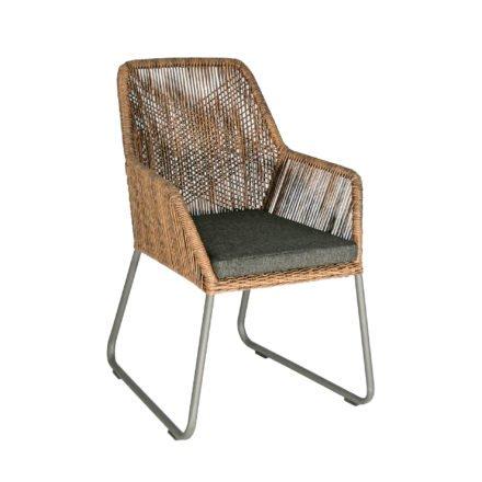"SIT Mobilia Gartenstuhl ""Allanis"", Gestell Aluminium eisengrau, Geflecht Twisted Abaco Philipino, Kissen schwarz"