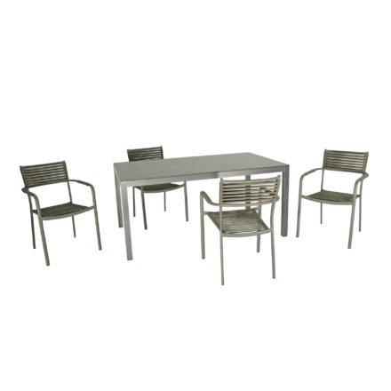 "SIT Mobilia Gartenstuhl ""Arica"", Gestell Aluminium eisengrau, Geflecht Flatrope anthrazit, Tisch ""Olympia Manhattan"", Tischplatte HPL Oxido Bluestone"