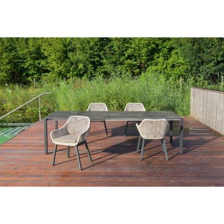 """SIT Mobilia Gartenstuhl """"Tacos"""", Gestell Aluminium eisengrau, Geflecht Twisted Beige, Tisch """"Manhattan"""""""