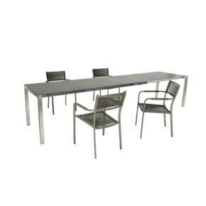 "SIT Mobilia Tisch ""Mano"", Gestell Edelstahl, Tischplatte Dekton Kelya, Stuhl ""Arica"""