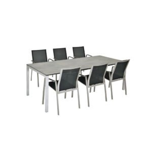 "SIT Mobilia Tisch ""Mano"", Gestell Edelstahl, Tischplatte HPL Oxido Terra, Stuhl ""Argentina"" polarsilber"