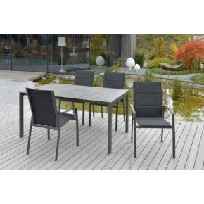 "SIT Mobilia Tisch ""Ventura"", Gestell Aluminium eisengrau, Tischplatte Keramik Mocca Perla, Stuhl ""Argentina II"""