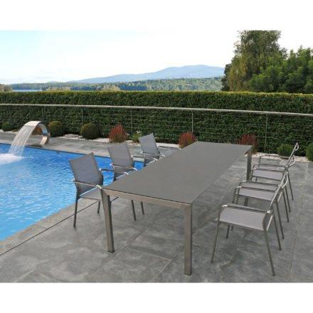 "SIT Mobilia Gartentisch ""Ventura"", Gestell Edelstahl, Tischplatte Keramik Beton dunkel"