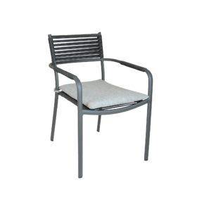 "SIT Mobilia Gartenstuhl ""Arica"", Gestell Aluminium eisengrau, Geflecht Flatrope anthrazit, Kissen white/grey"