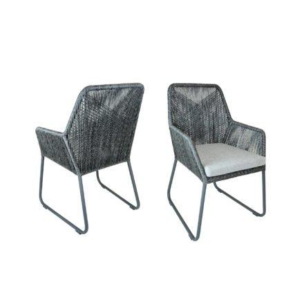 "SIT Mobilia Gartenstuhl ""Allanis"", Gestell Aluminium eisengrau, Geflecht Twisted Ebony, Kissen white/grey"