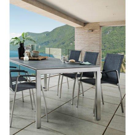 "SIT Mobilia Gartentisch ""Ventura"", Gestell Edelstahl, Tischplatte Keramik Blue Notte, Stuhl ""Tinto"""