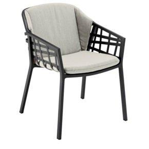 "Solpuri Dining Sessel ""Basket"" inkl. Sitz- und Rückenkissen, Gestell Aluminium anthrazit"