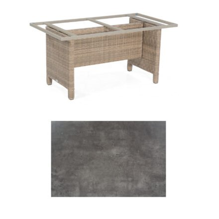 Sonnenpartner Gartentisch Base-Polyrattan, Gestell Geflecht rustic-stream, Tischplatte HPL Beton dunkel, Größe: 160x90 cm