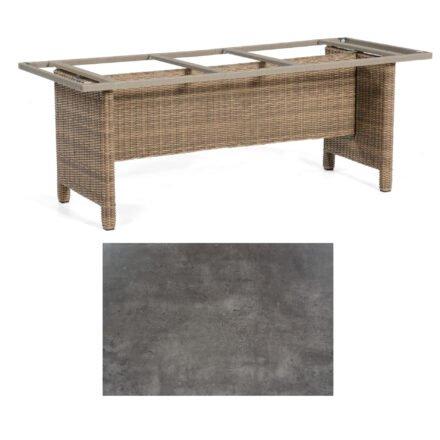 Sonnenpartner Gartentisch Base-Polyrattan, Gestell Geflecht rustic-stream, Tischplatte HPL Beton dunkel, Größe: Größe: 200x100 cm