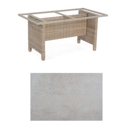 Sonnenpartner Gartentisch Base-Polyrattan, Gestell Geflecht rustic-stream, Tischplatte HPL Beton hell, Größe: 160x90 cm
