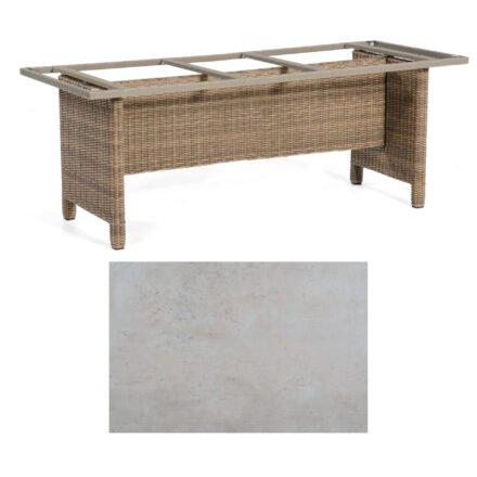 Sonnenpartner Gartentisch Base-Polyrattan, Gestell Geflecht rustic-stream, Tischplatte HPL Beton hell, Größe: Größe: 200x100 cm