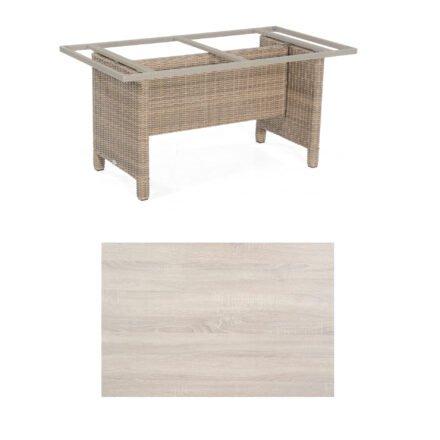 Sonnenpartner Gartentisch Base-Polyrattan, Gestell Geflecht rustic-stream, Tischplatte HPL Eiche sägerau, Größe: 160x90 cm