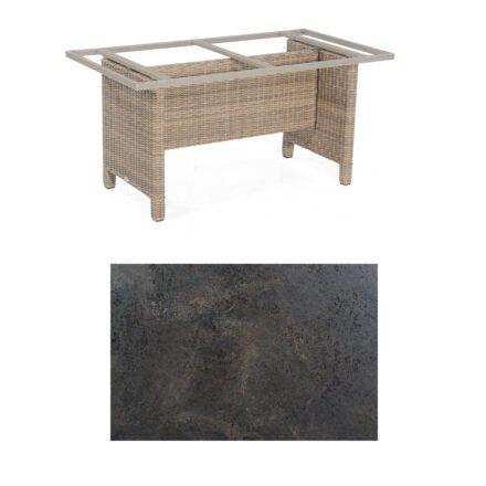 Sonnenpartner Gartentisch Base-Polyrattan, Gestell Geflecht rustic-stream, Tischplatte HPL Keramikoptik, Größe: 160x90 cm