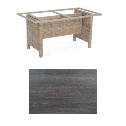Sonnenpartner Gartentisch Base-Polyrattan, Gestell Geflecht rustic-stream, Tischplatte HPL mali-wenge, Größe: 160x90 cm